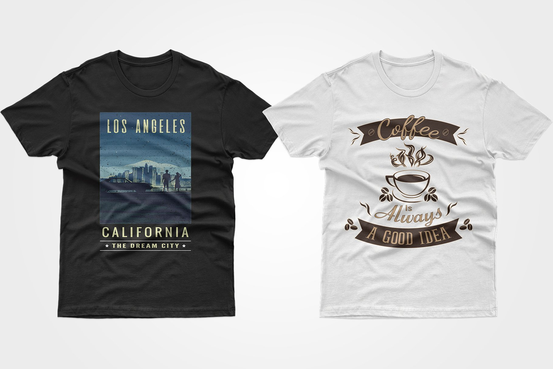 Two black T-shirts - one with a picture of LA, the other with coffee.