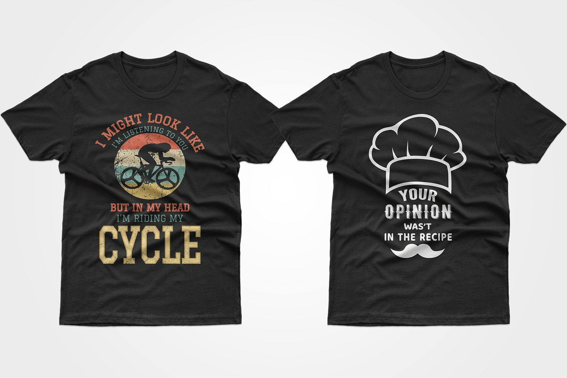 Two black T-shirts, one with a culinary cap and one with a cyclist.