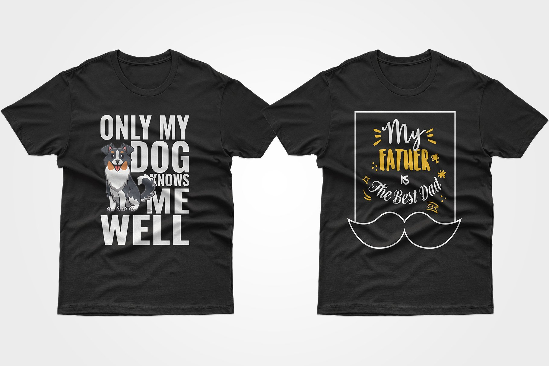 Two black T-shirts - one with a long-haired dog, the other with a phrase about father.