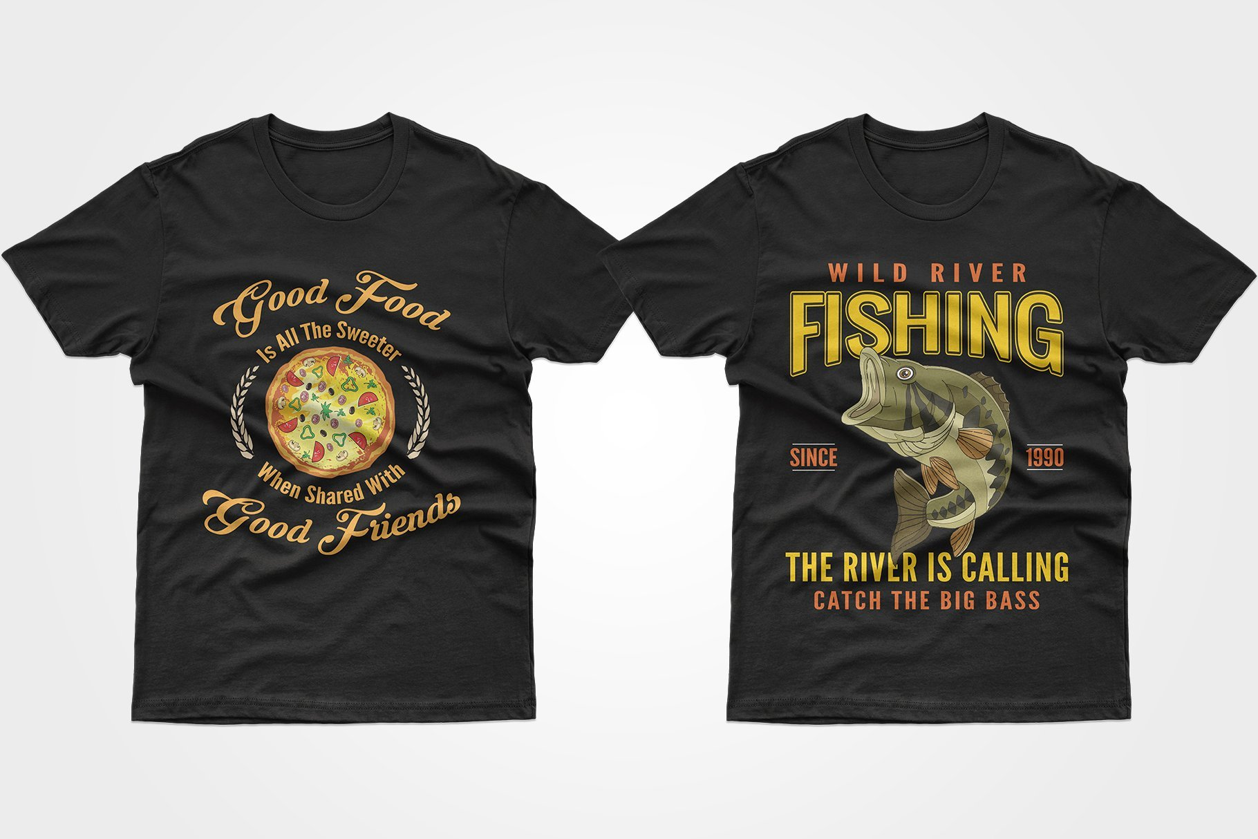Two black T-shirts, one with pizza and one with fish.