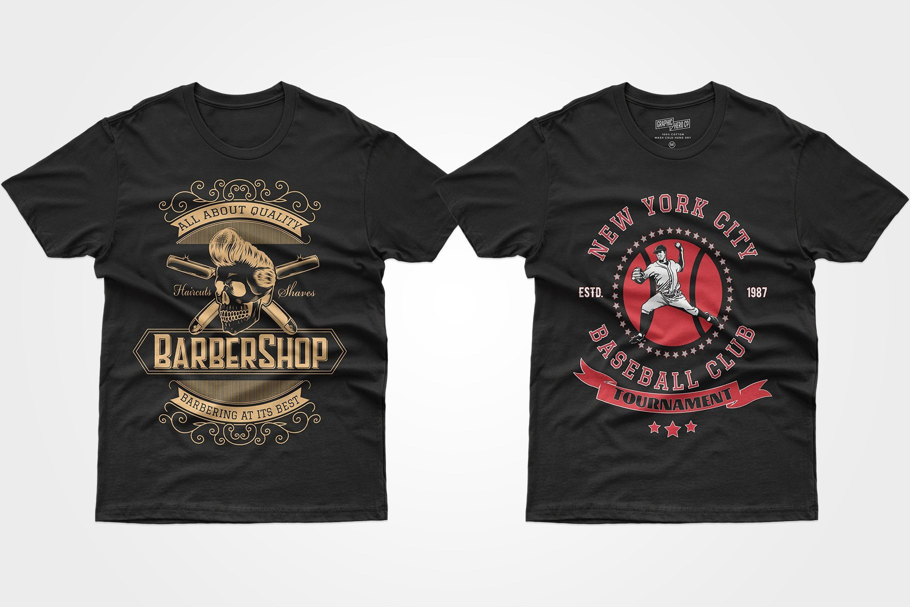 Two black T-shirts - with a skull and a famous baseball player.