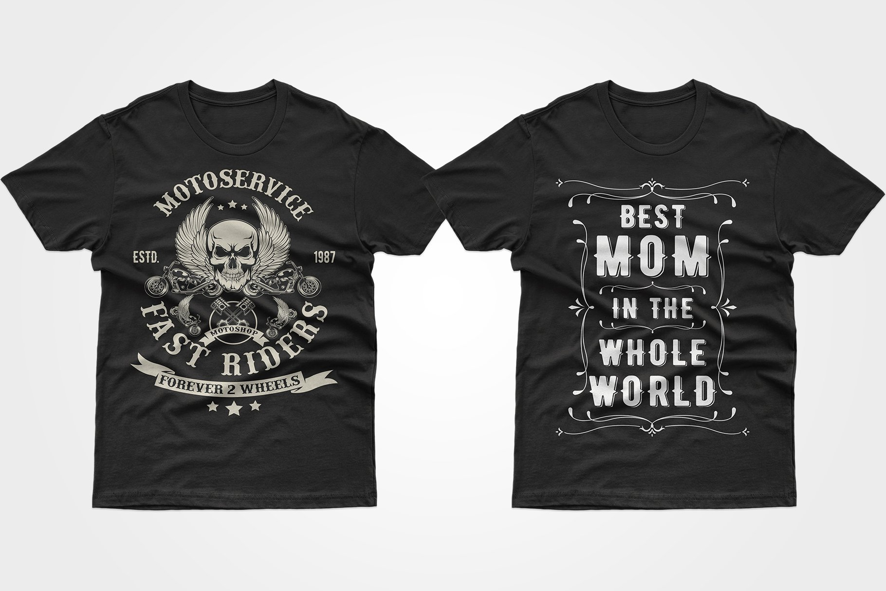 Two black T-shirts - one with a skull, the other with a phrase about mom.