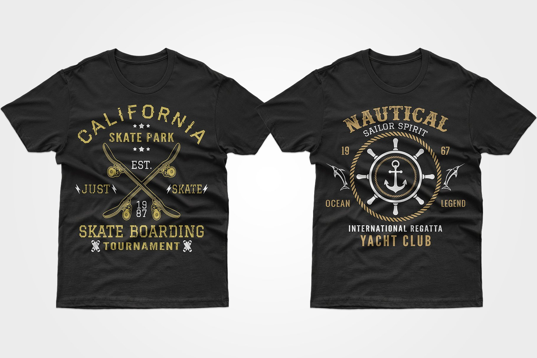 Two black T-shirts - one with crossed skates, the other is a regatta poster.