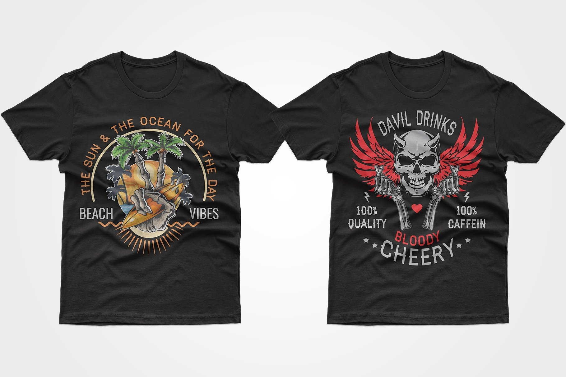 Two black T-shirts - one with a picture of the island, the other with a skull with red wings.