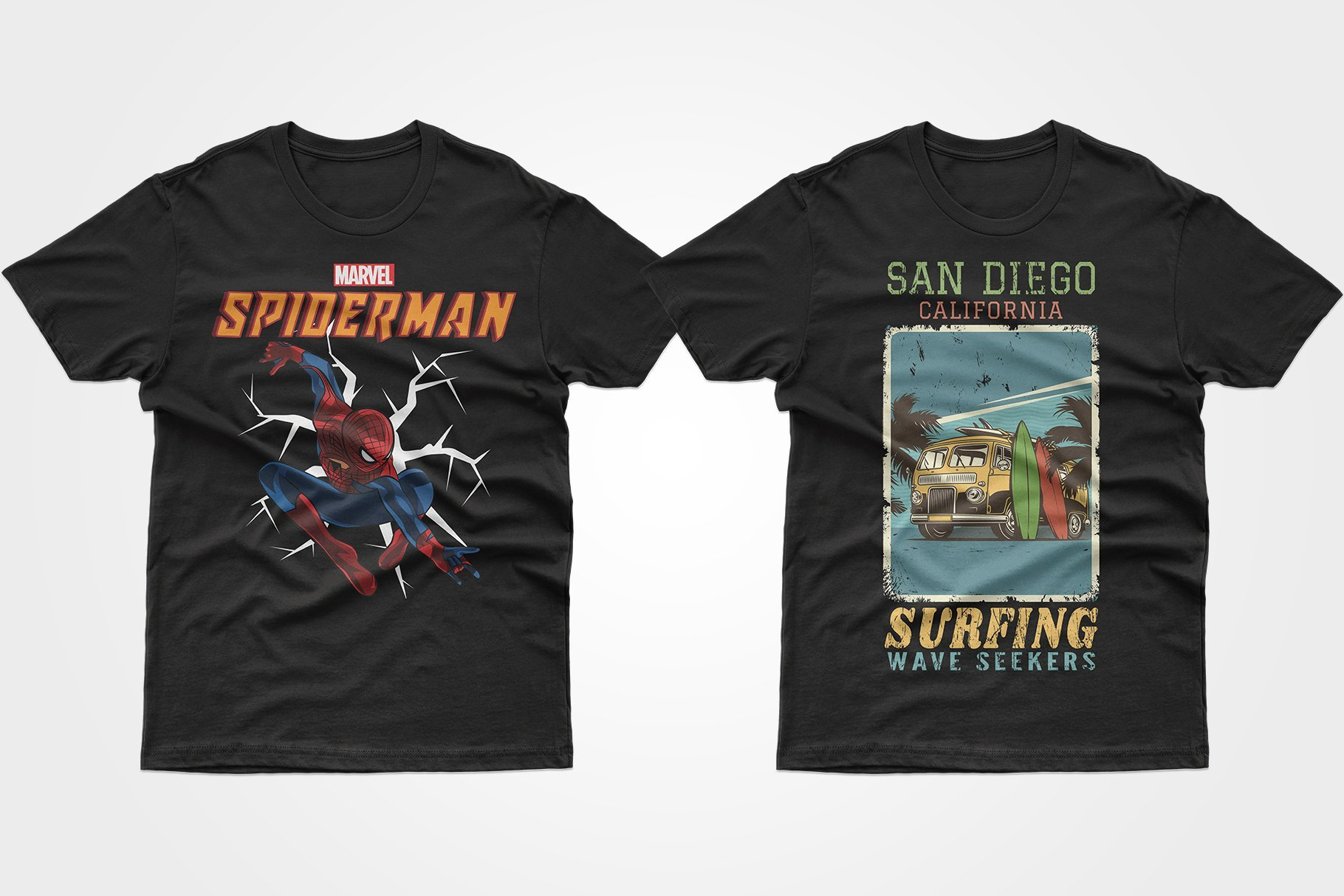 Two black T-shirts - one with a spiderman, one with a hippie truck.