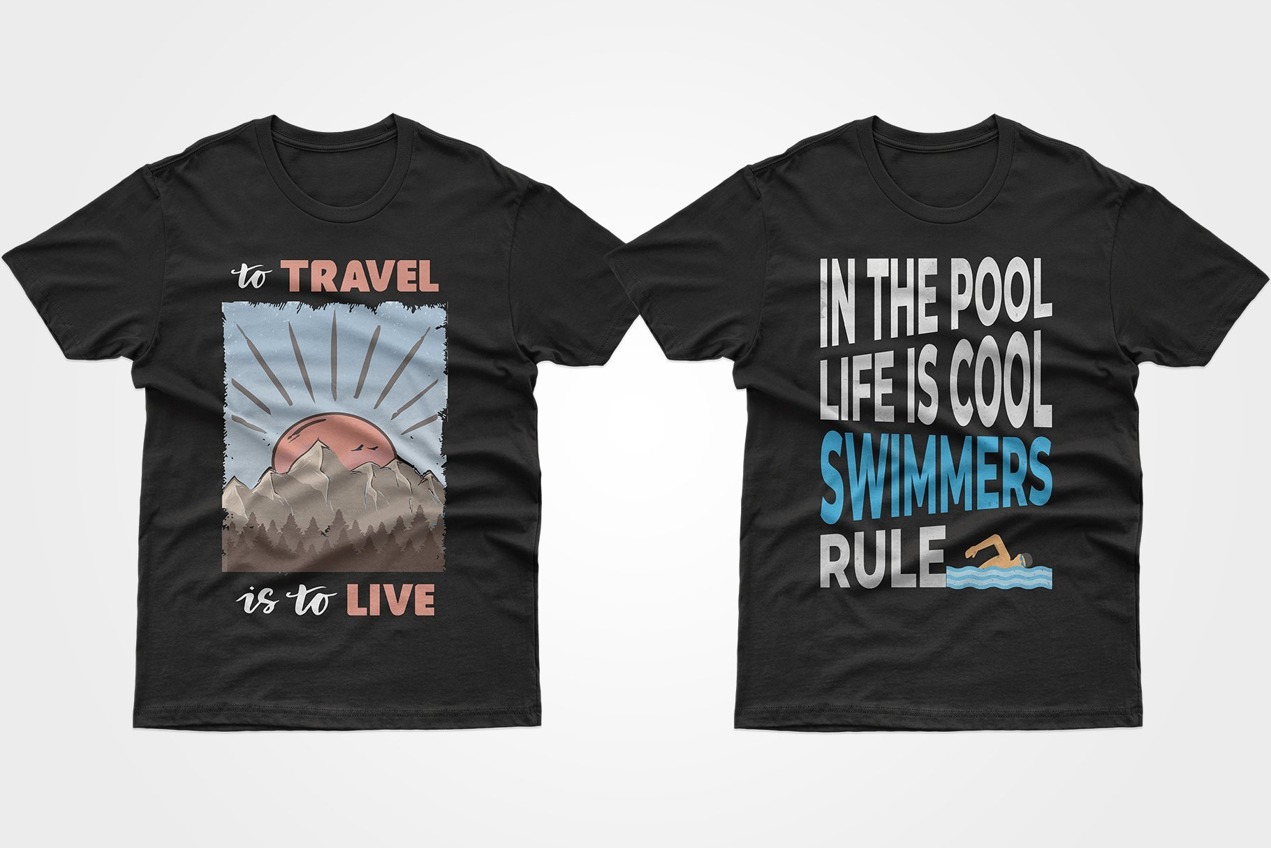 Two black T-shirts - one with a picture of sunrise in the mountains, the other with a phrase about swimming.