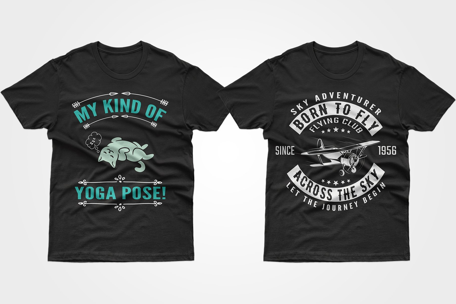 Two black T-shirts - one with a b / w plane, the other with a kitten in an assana.