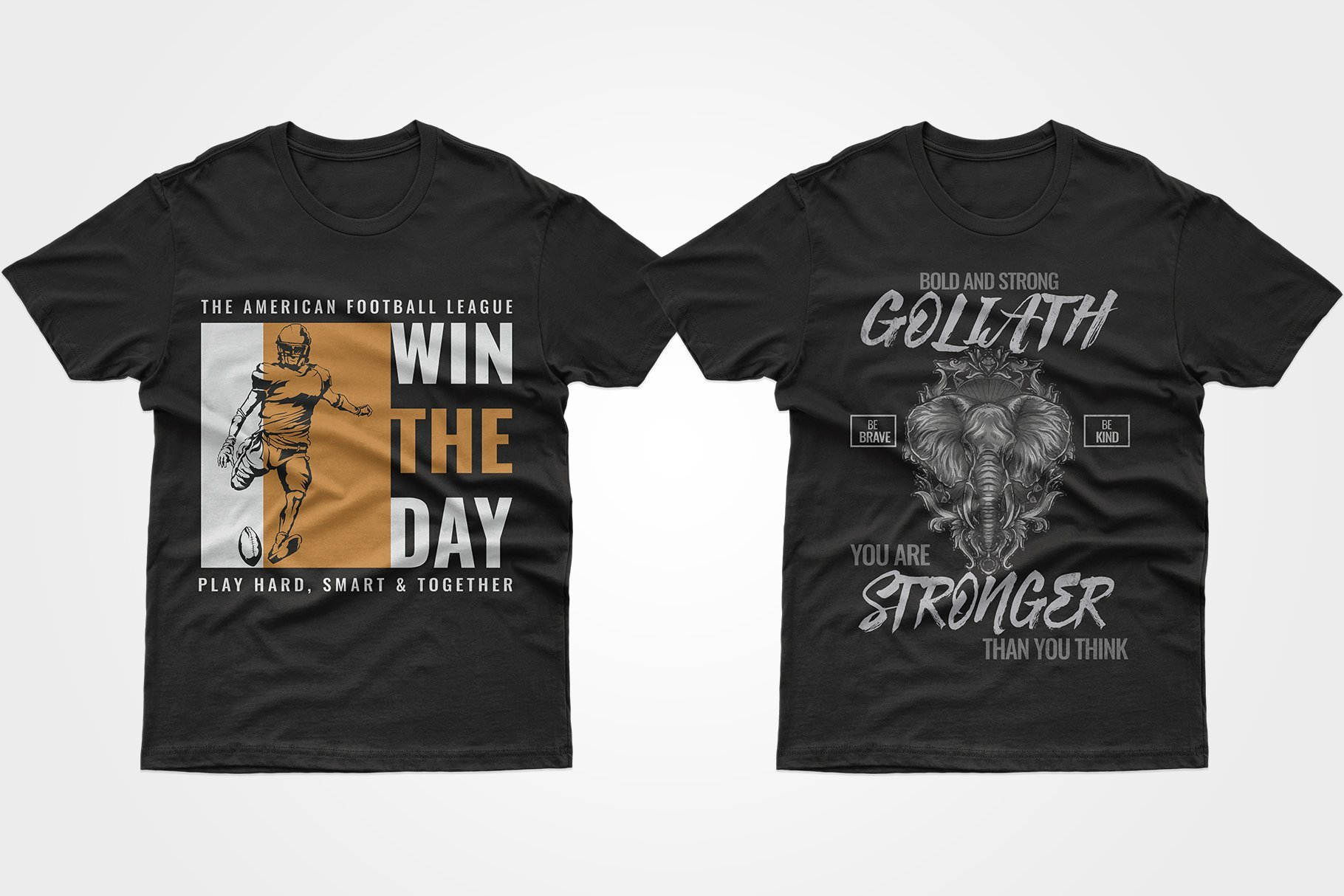 Two black jerseys - one with an elephant and a motivating phrase, the other with an American football player.