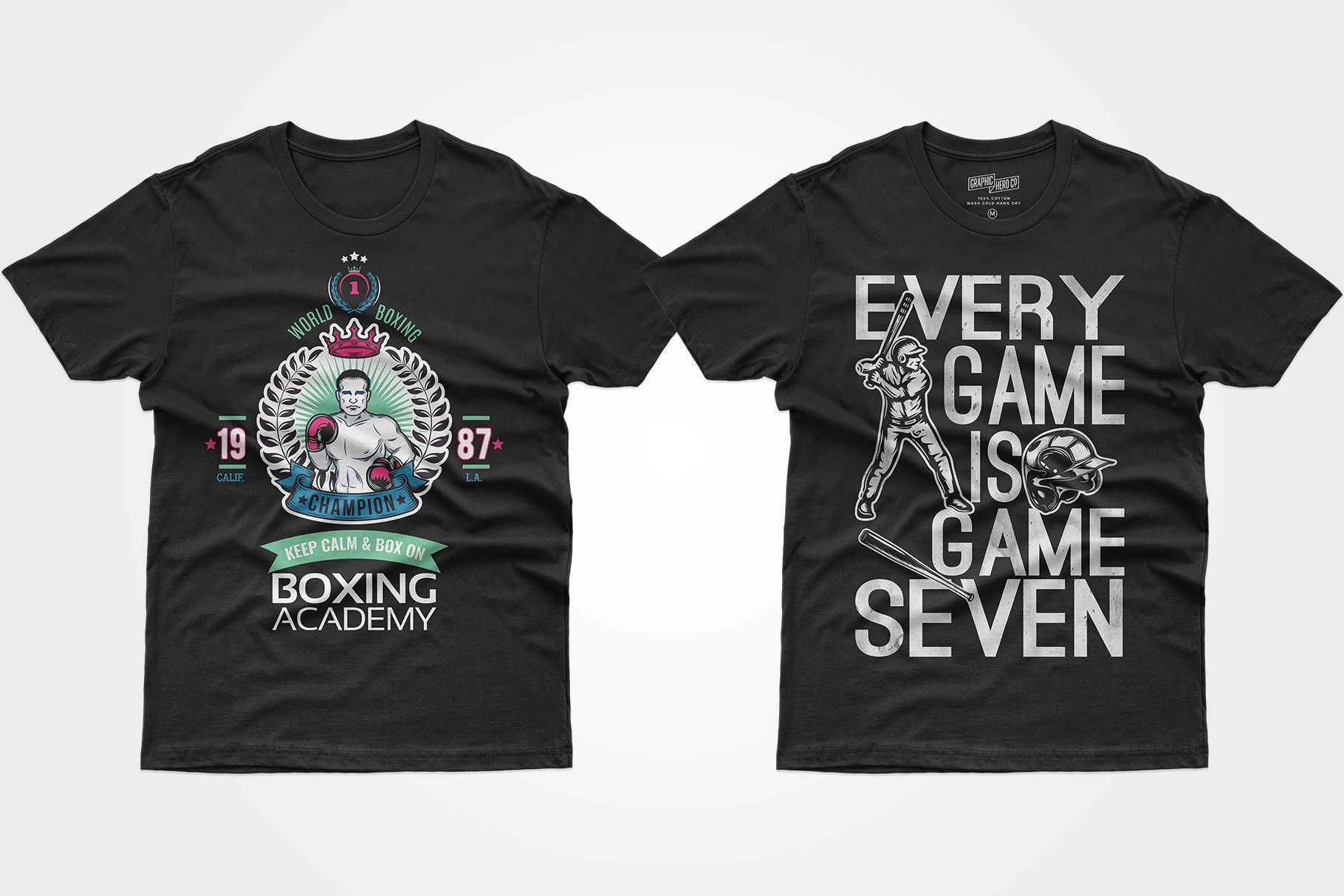 Two black T-shirts - one with a crowned boxer, the other with a baseball player.