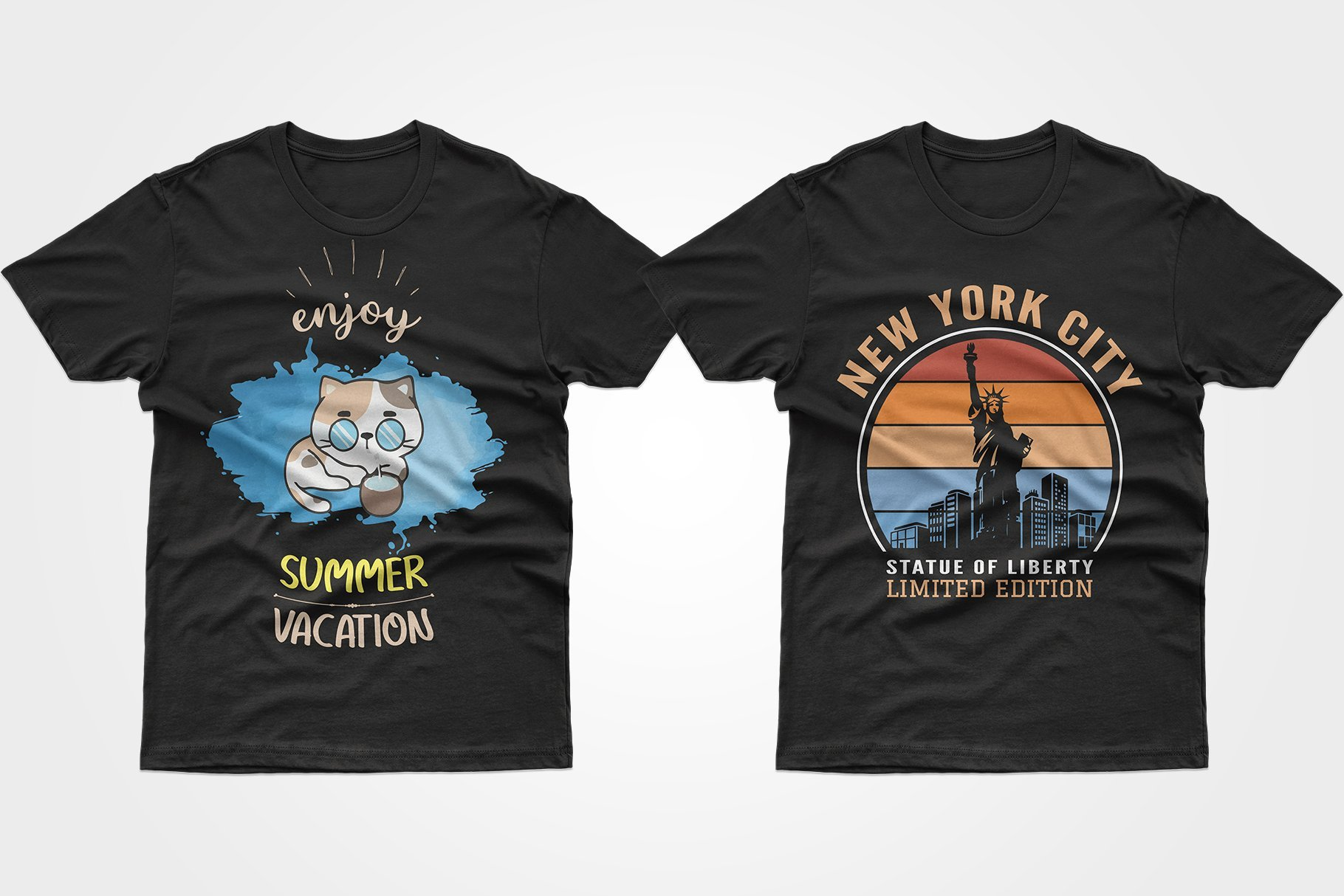 Two black T-shirts - one with a kitten, the other with the Statue of Liberty.