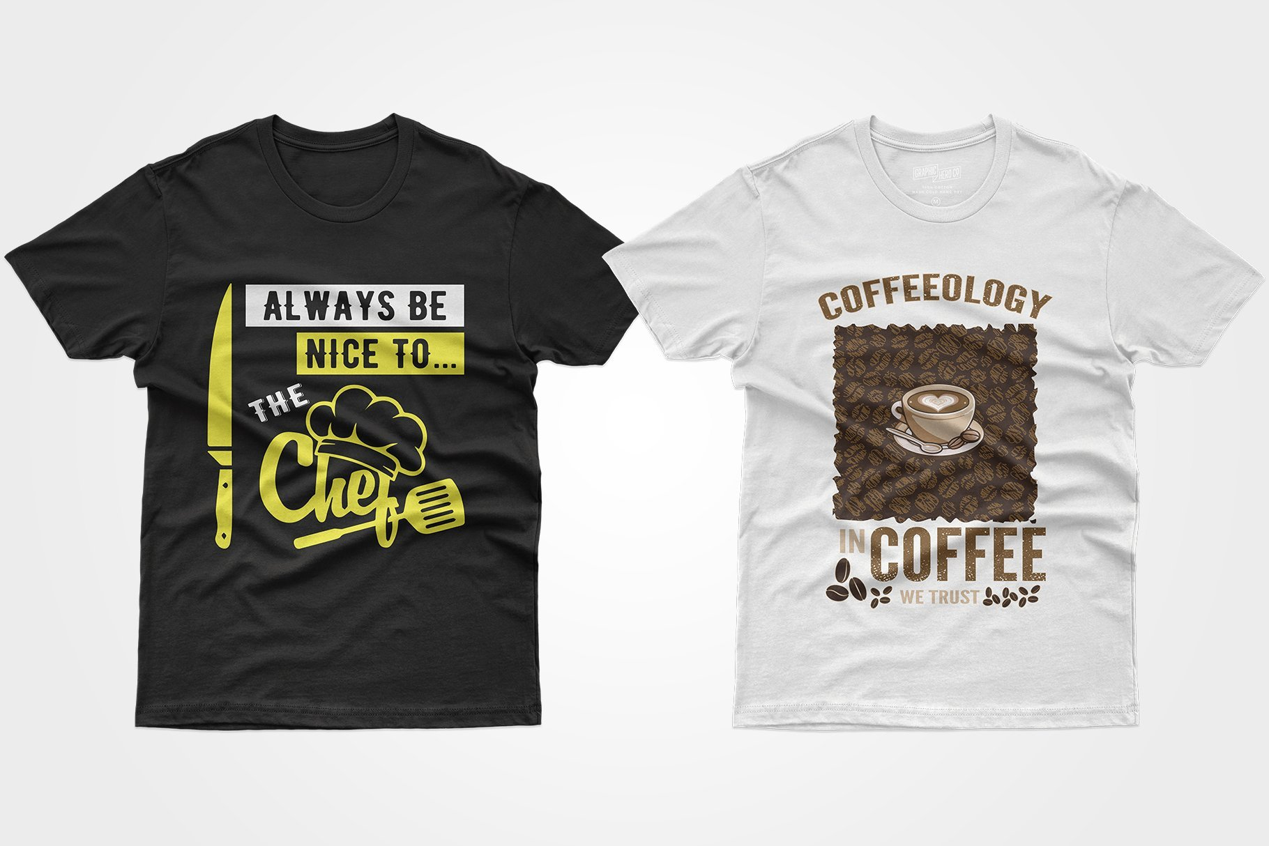 Two black T-shirts, one with coffee, the other with a knife and a hood.