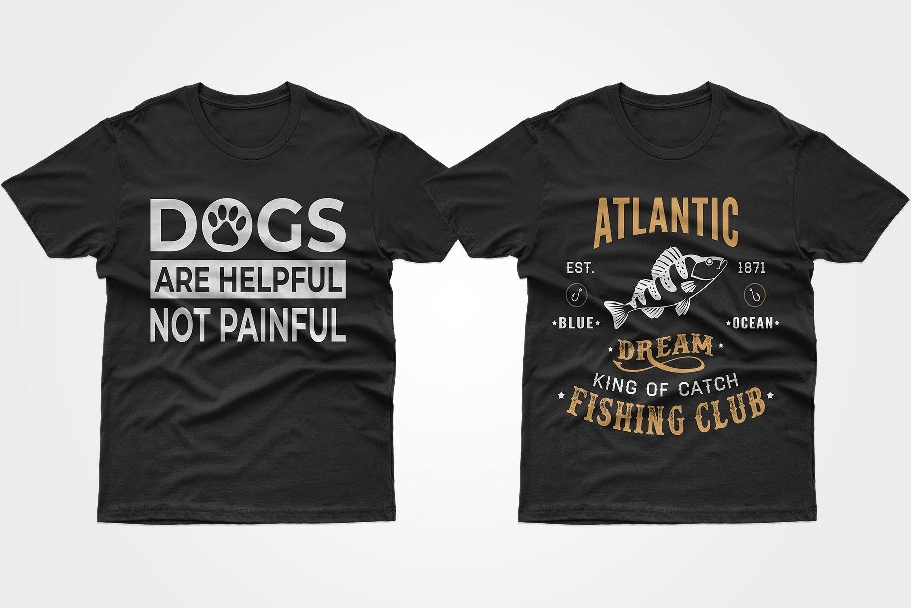 Two black T-shirts with phrases - one about fish, the other about dogs.
