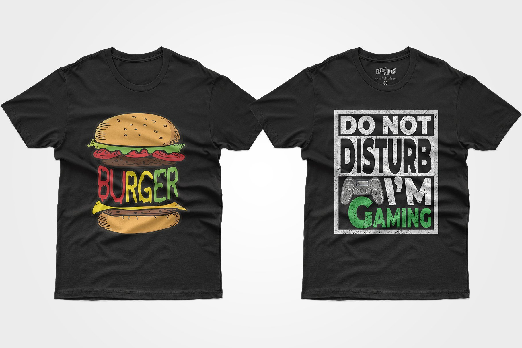 Two black T-shirts - one with a burger, the other with a game console.