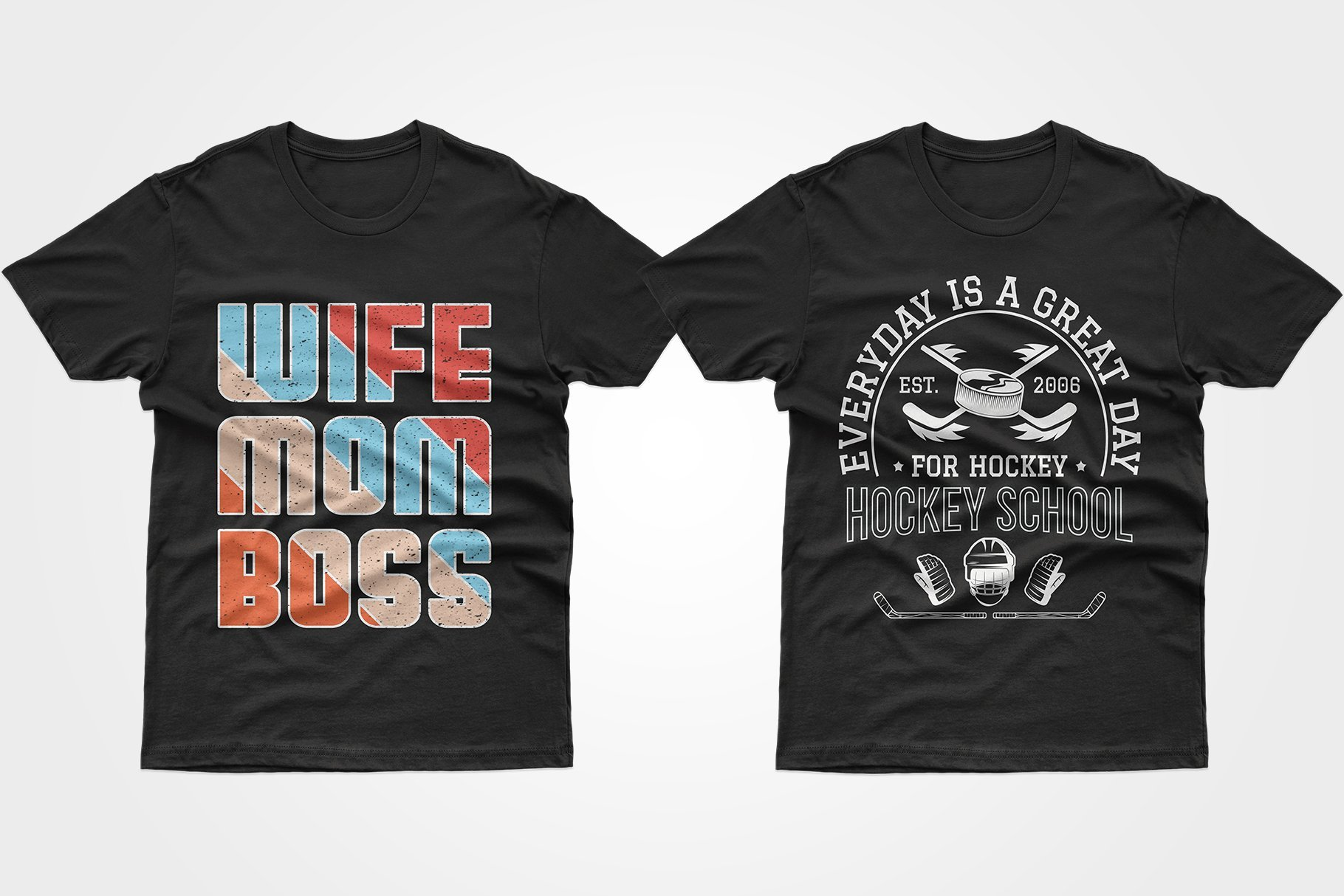 Two black T-shirts - one with a phrase about mom, the other with an advertisement for a hockey school.
