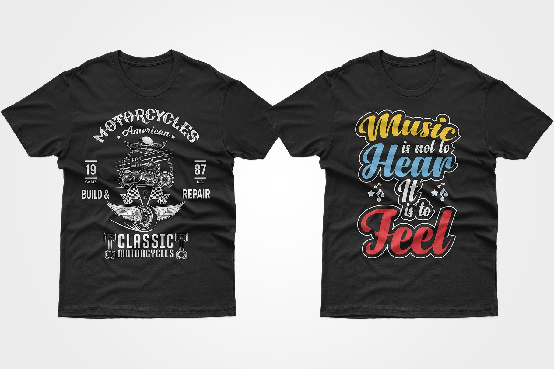 Two black T-shirts - one with a phrase about music, the other with a skull on a motorcycle.