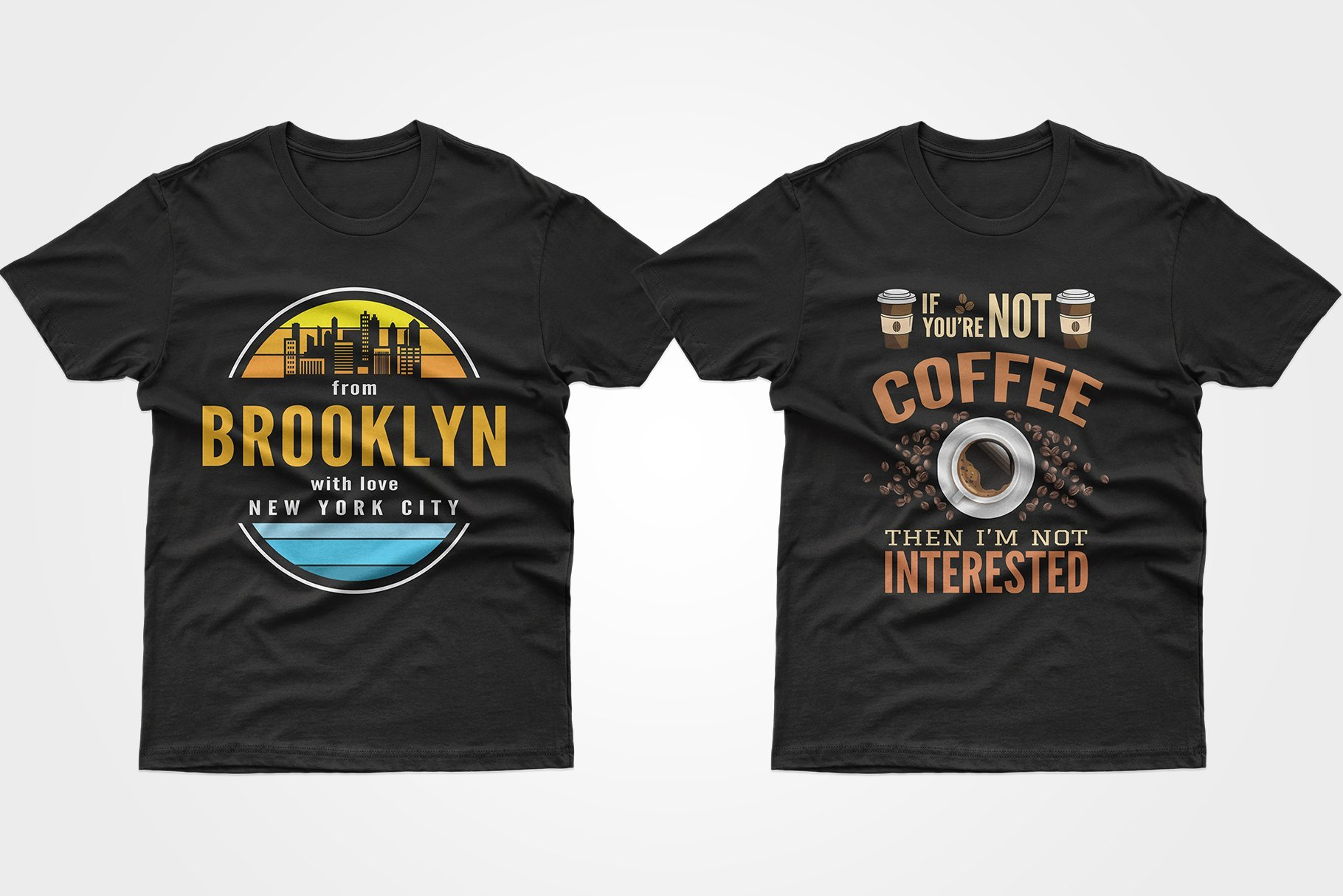 Two black T-shirts - from New York borough and coffee.