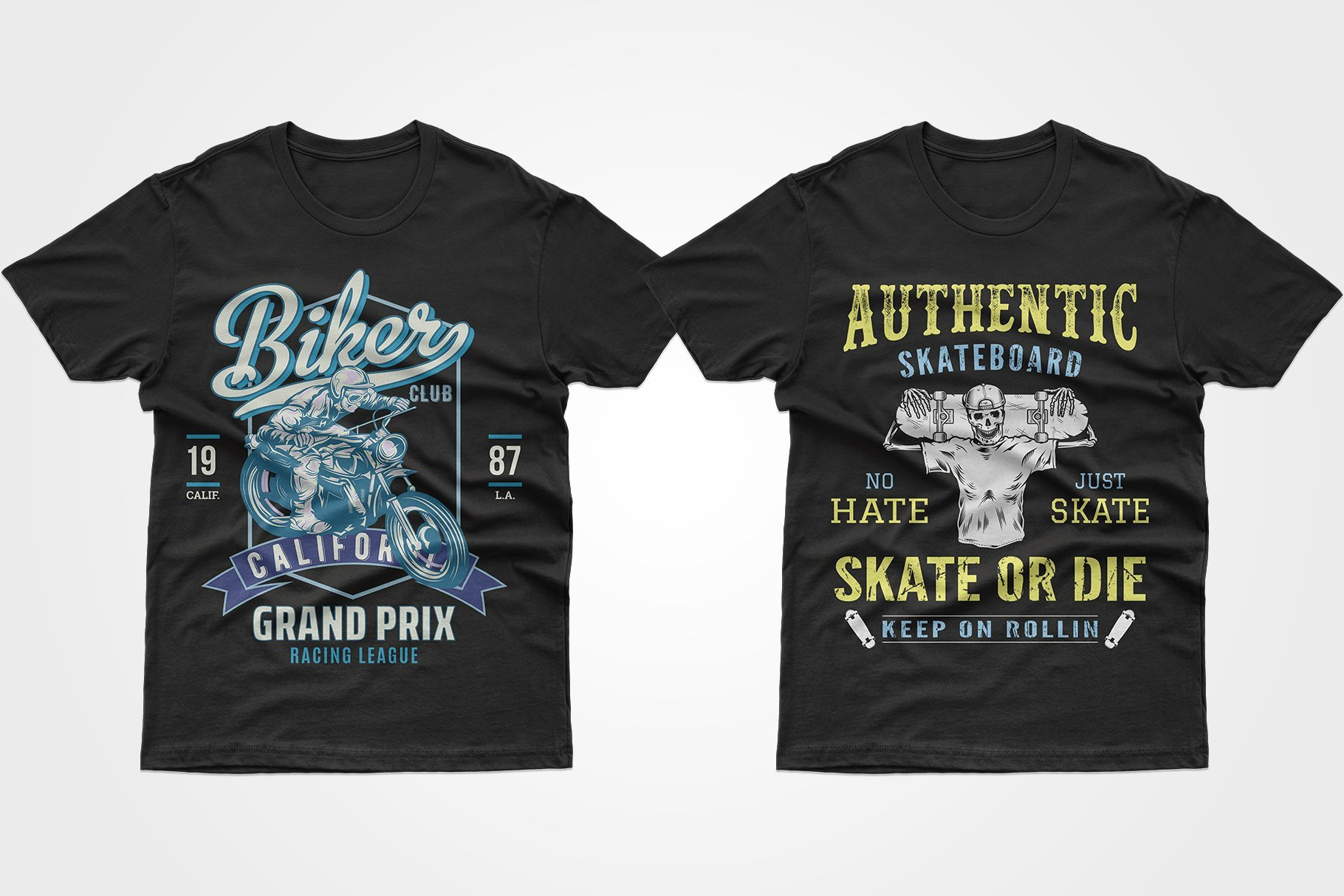 Two black T-shirts - one with blue graphics and a zombie on a motorcycle, the other with a zombie with a skateboard.