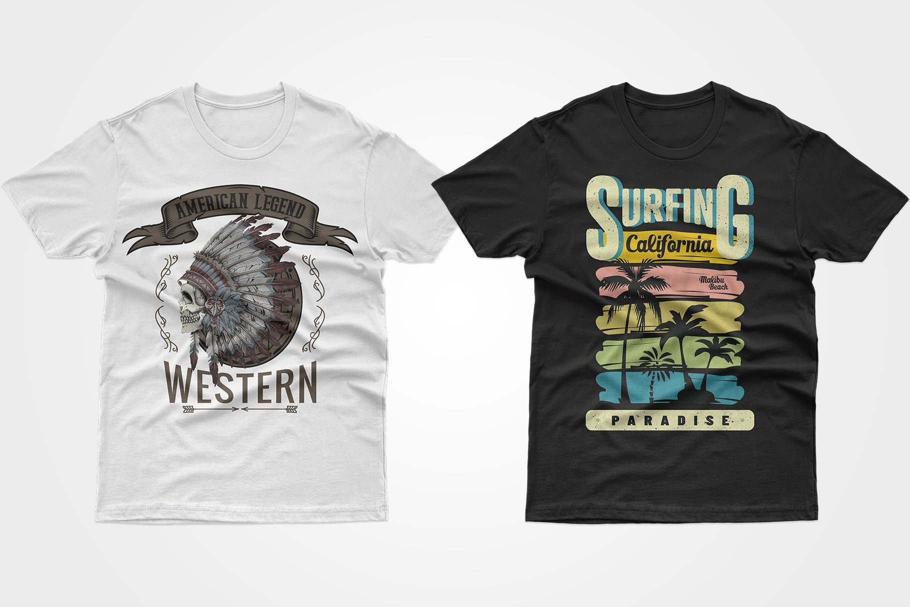 Two T-shirts - one white with a skull on the head with feathers, the other black with a California dream.
