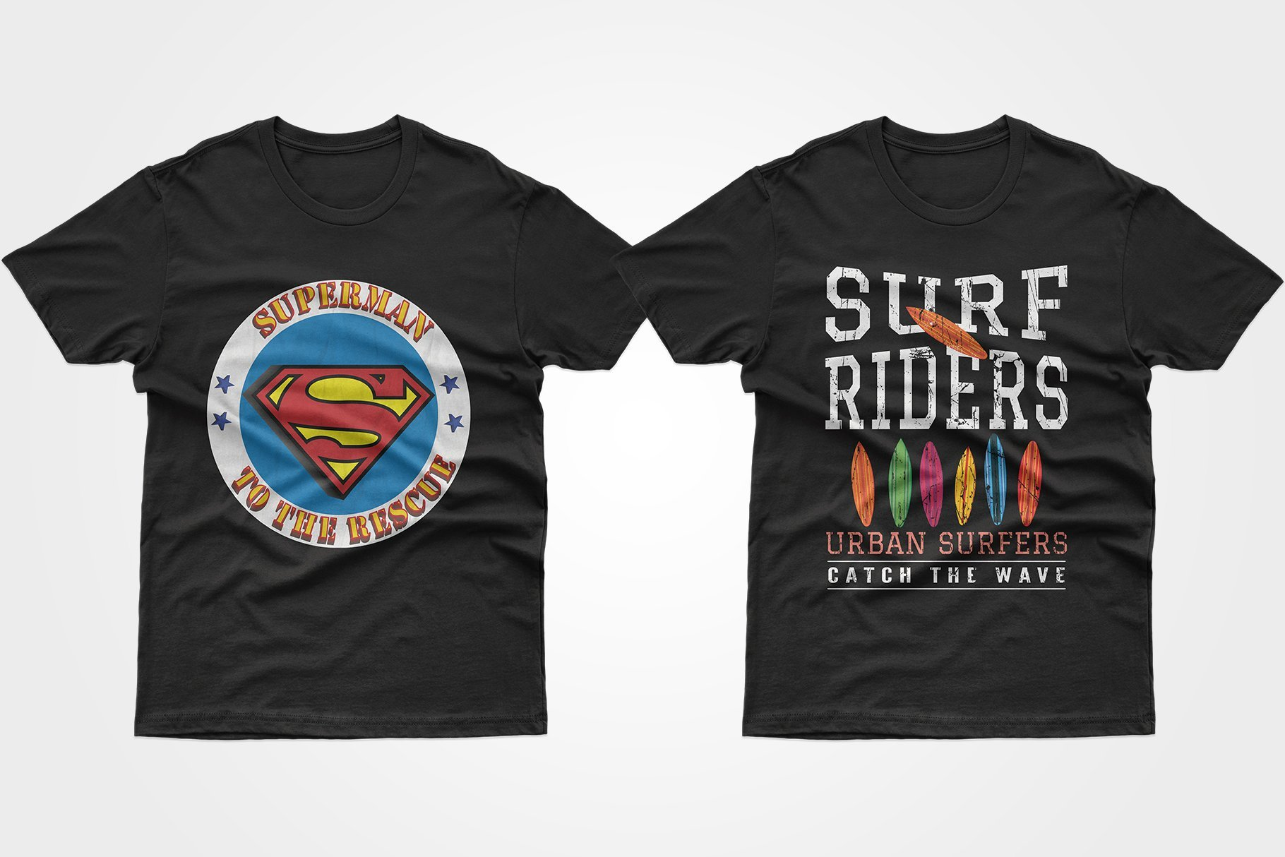 Two black T-shirts, one with the Superman sign and the other with surfboards.