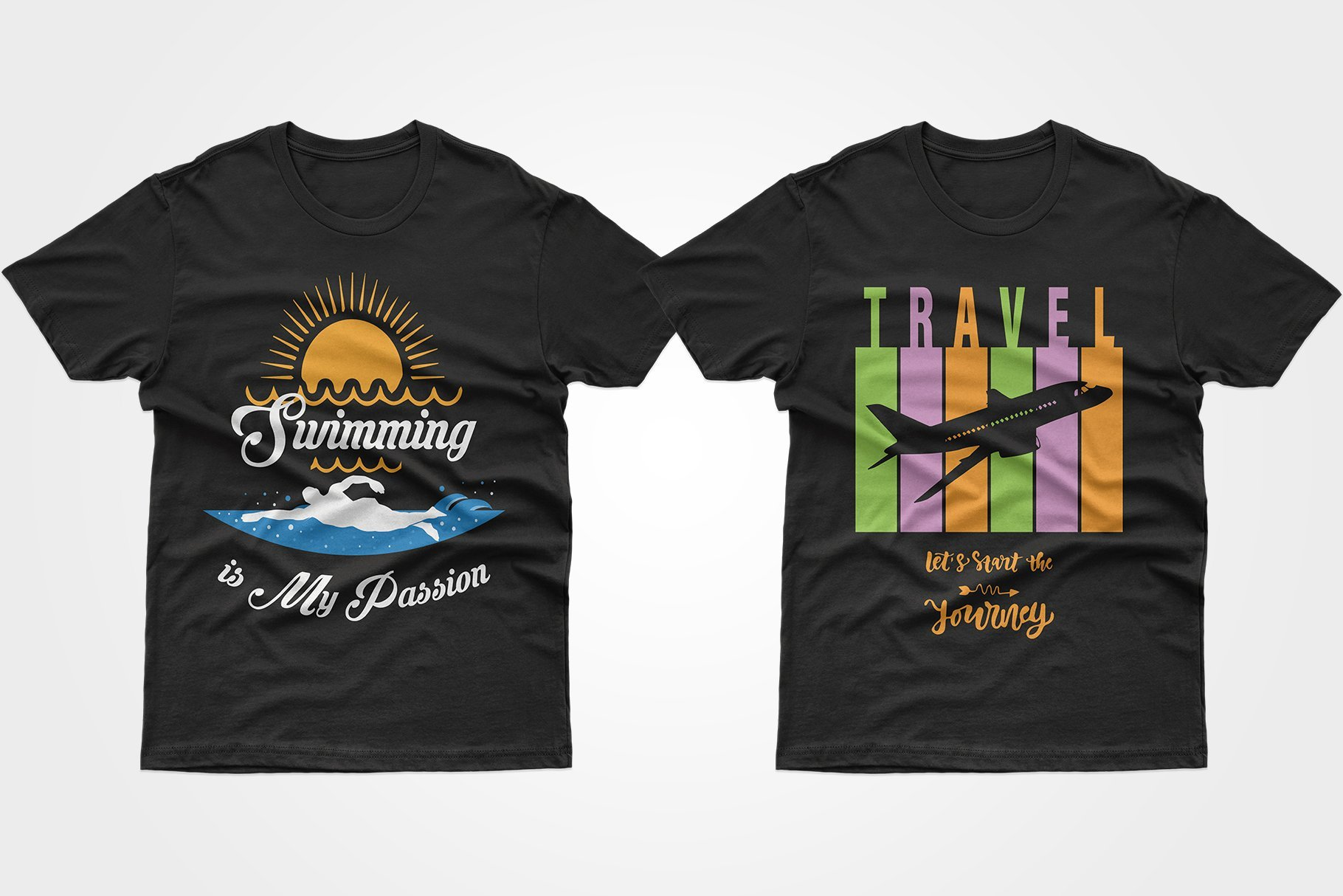 Two black T-shirts - one about the love of swimming, the other about the delight of traveling.