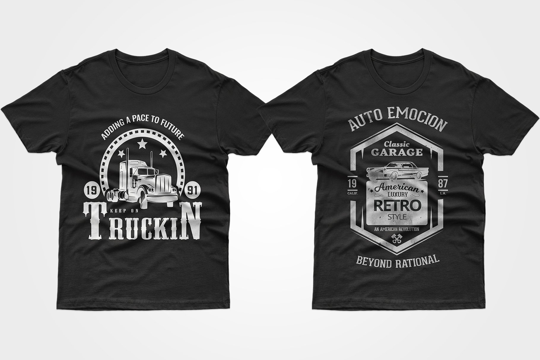 Two black T-shirts - one with a large truck, the other as a poster with a vintage car.