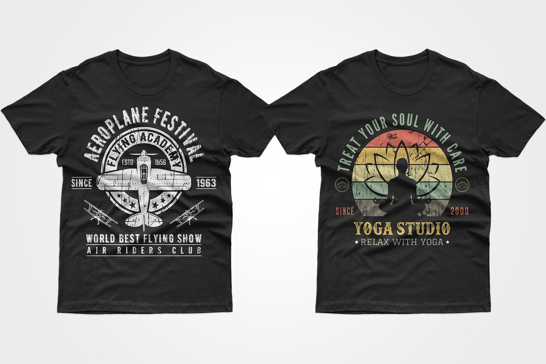 Two black T-shirts - one with an airplane, the other with a man in a lotus position.