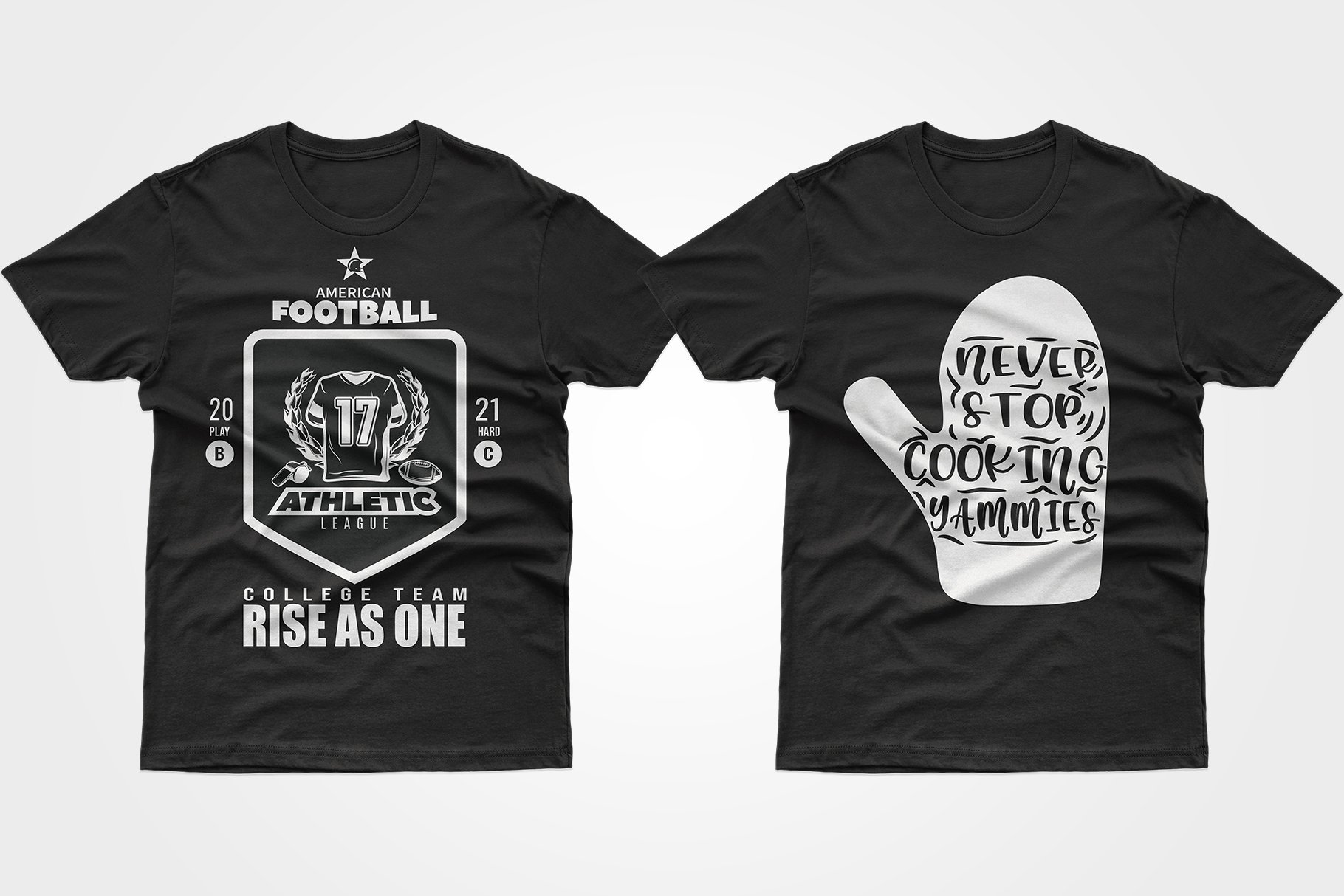 Two black T-shirts - one with a kitchen mitten, the other with a football shirt.