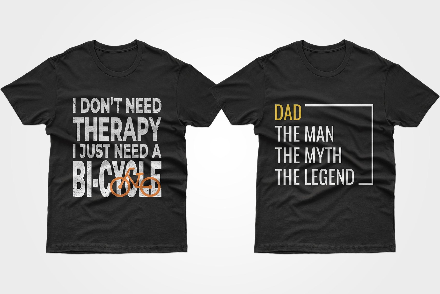 Two black T-shirts - both with a motivational lettering.