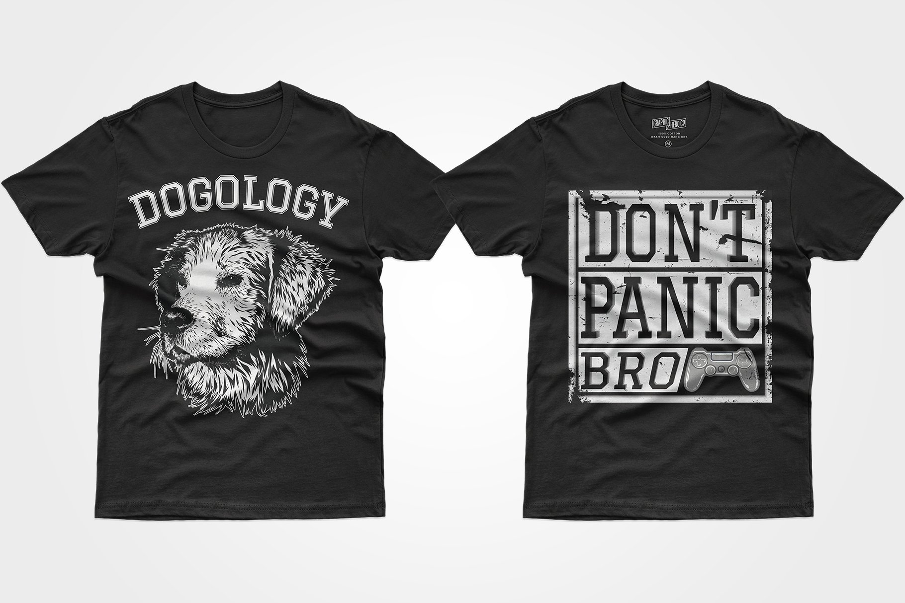 Two black T-shirts - one with a dog, the other with a prefix and a phrase.