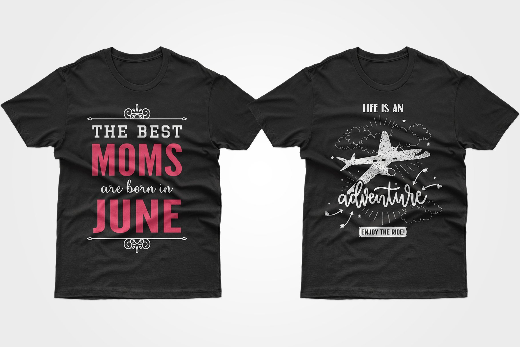 Two black T-shirts - one with a bright phrase about mom, the other with an airplane.