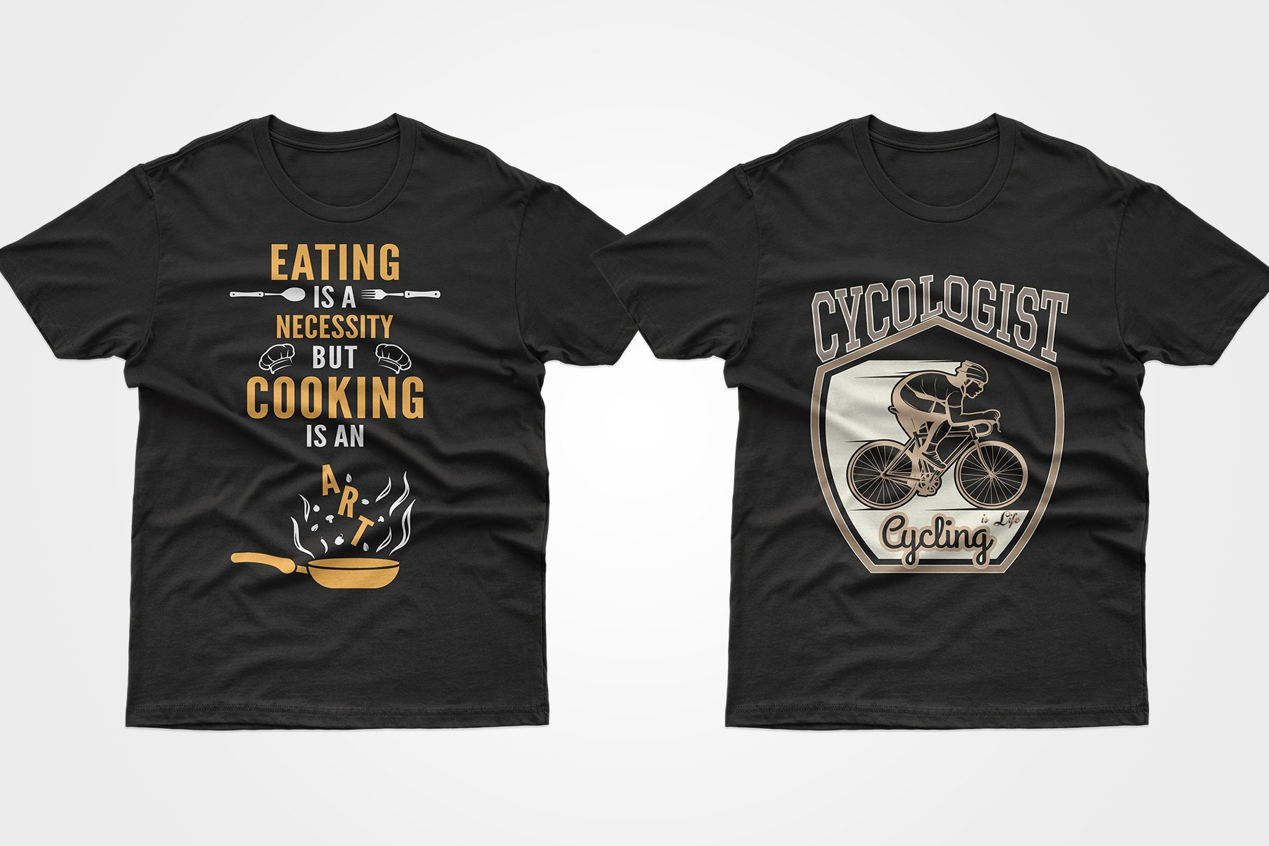 Two black T-shirts - with food and a cyclist.