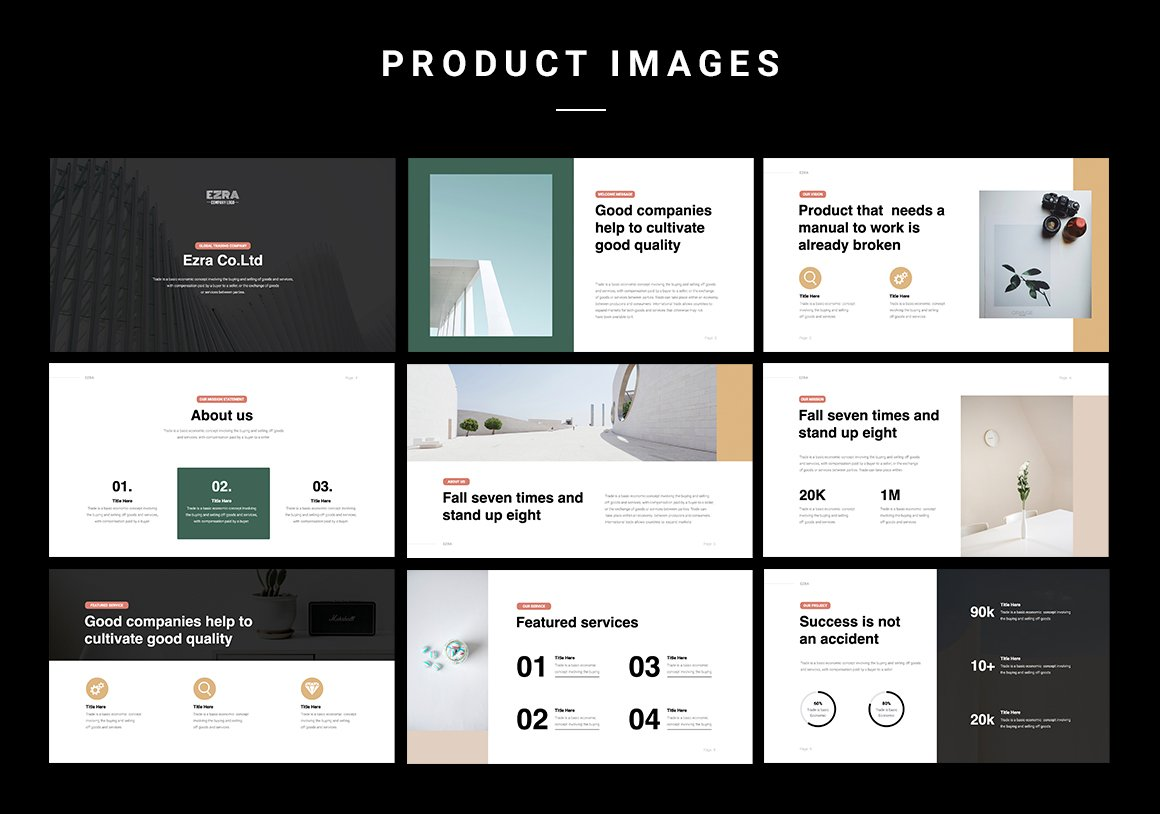 The emphasis here is on aesthetics. The slides are stacked in a stylish and informative way. Business Minimal Presentation Template Highlight.
