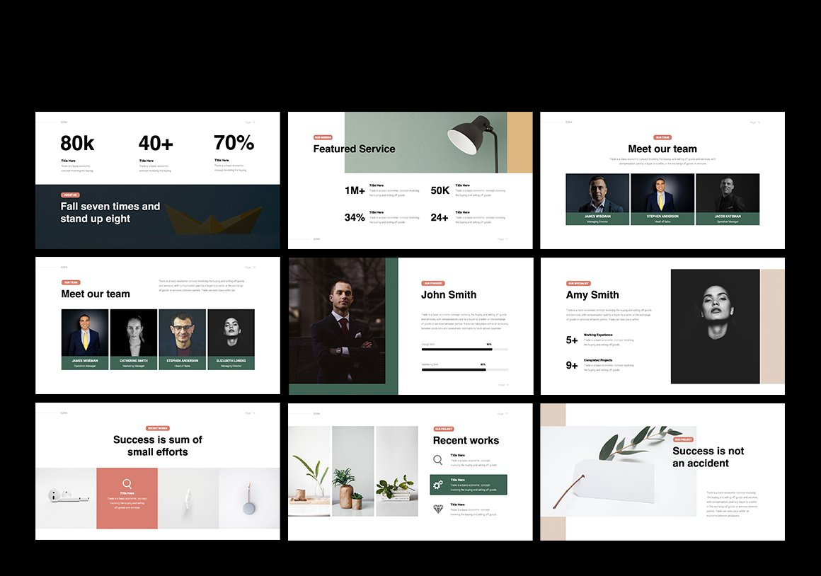 Elegant and beautiful slides with photos and graphics. Business Minimal Presentation Template.