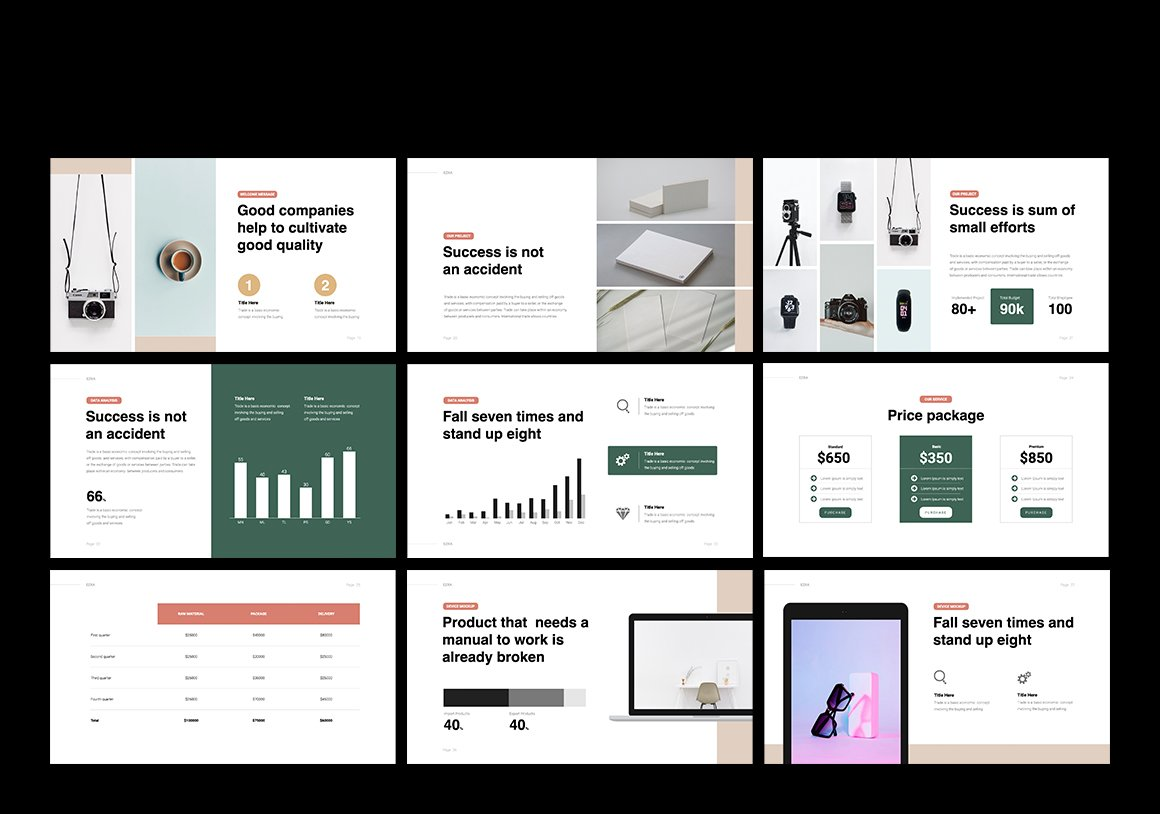 Stylish template with many slides with graphics and infographics. Business Minimal Presentation Template.