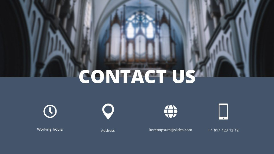 The last slide is the contacts. Spirituality - Free Tabernacle Worship Powerpoint Background.