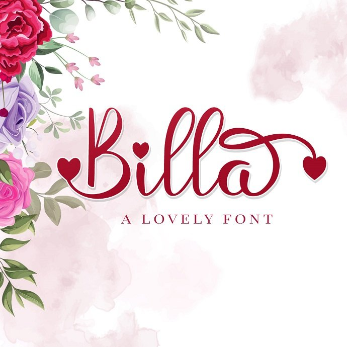 Billa Lovely Home Font Example.