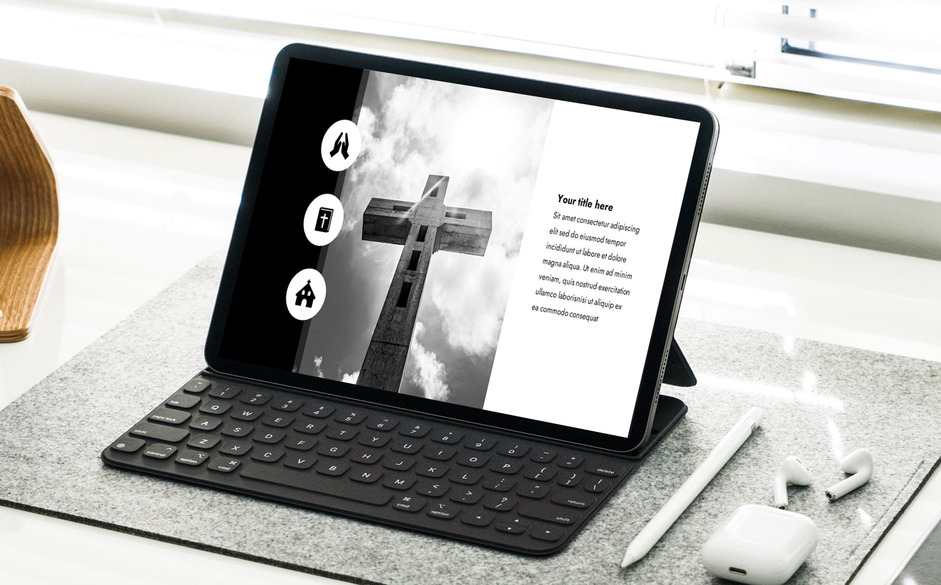 widescreen powerpoint background for worship - A presentation on the tablet