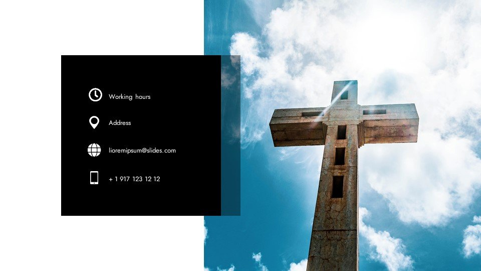 The last slide with contacts. Greatness - Free Widescreen Powerpoint Background for Worship.