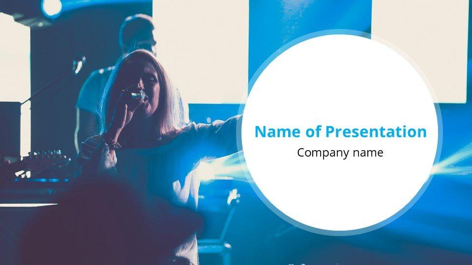 Live presentation in blue.