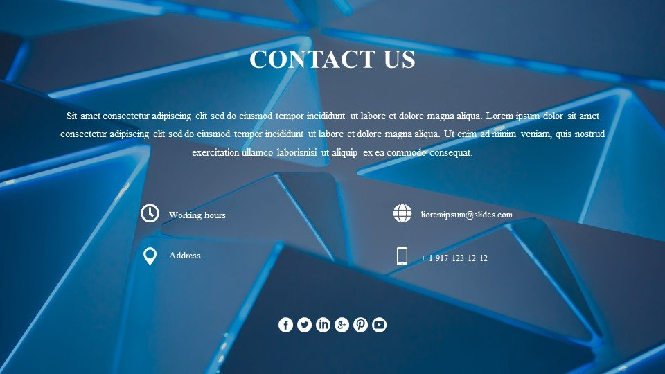 The last slide is the contacts. Abstraction - Free Worship Powerpoint Background Geometric Blue.
