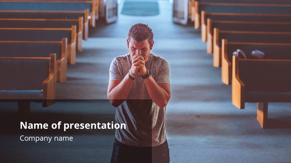 The main focus of the presentation is the praying man in the cathedral.