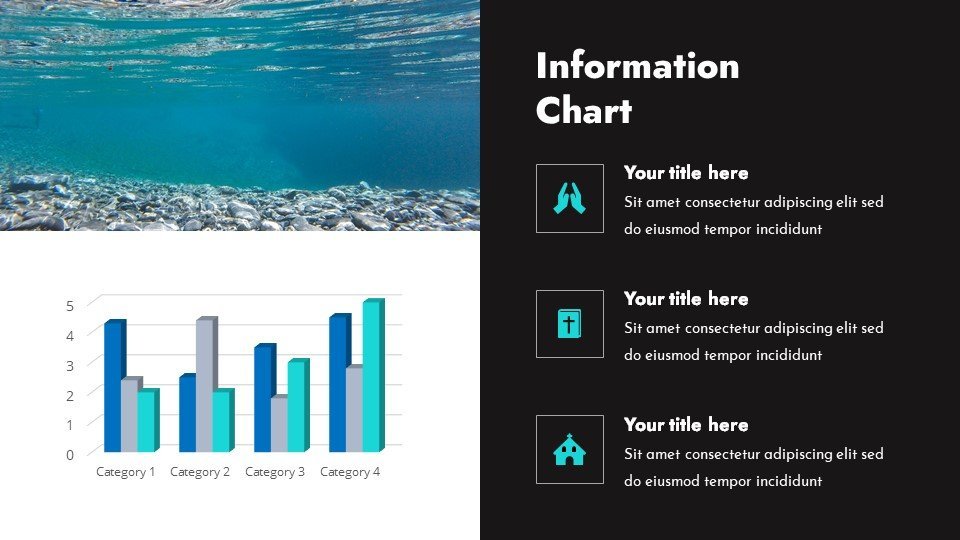 You can place the material both in a text box and in an infographic.Blessedness - Free Worship Powerpoint Background Under Water.