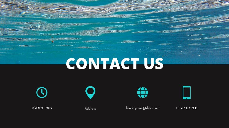 The last slide is the contacts. Blessedness - Free Worship Powerpoint Background Under Water.