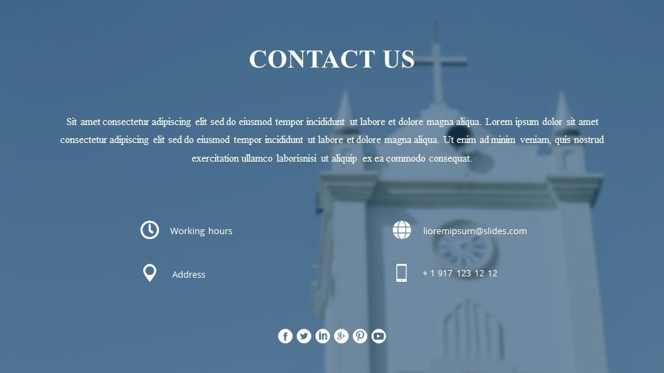 The last slide is the contacts. Breathtaking - Free Worship Service Powerpoint Background Images.