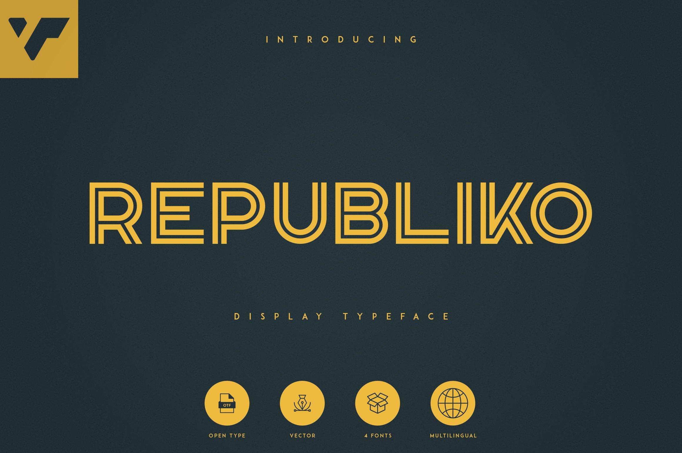 2D font gold color. Republiko.