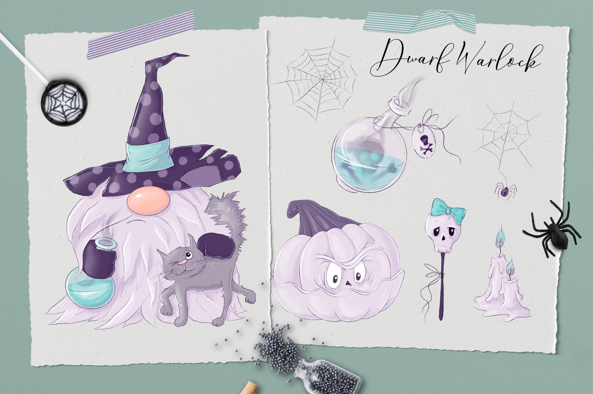 TIn a delicate lilac color, the gnome along with his pumpkin. Nordic Gnomes Halloween Сharacters.