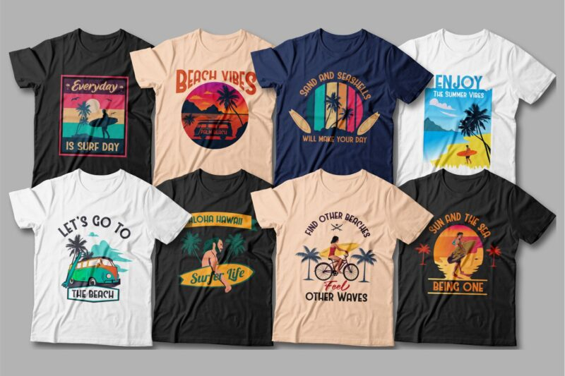 Classic cut T-shirts with quality surf-themed graphics.