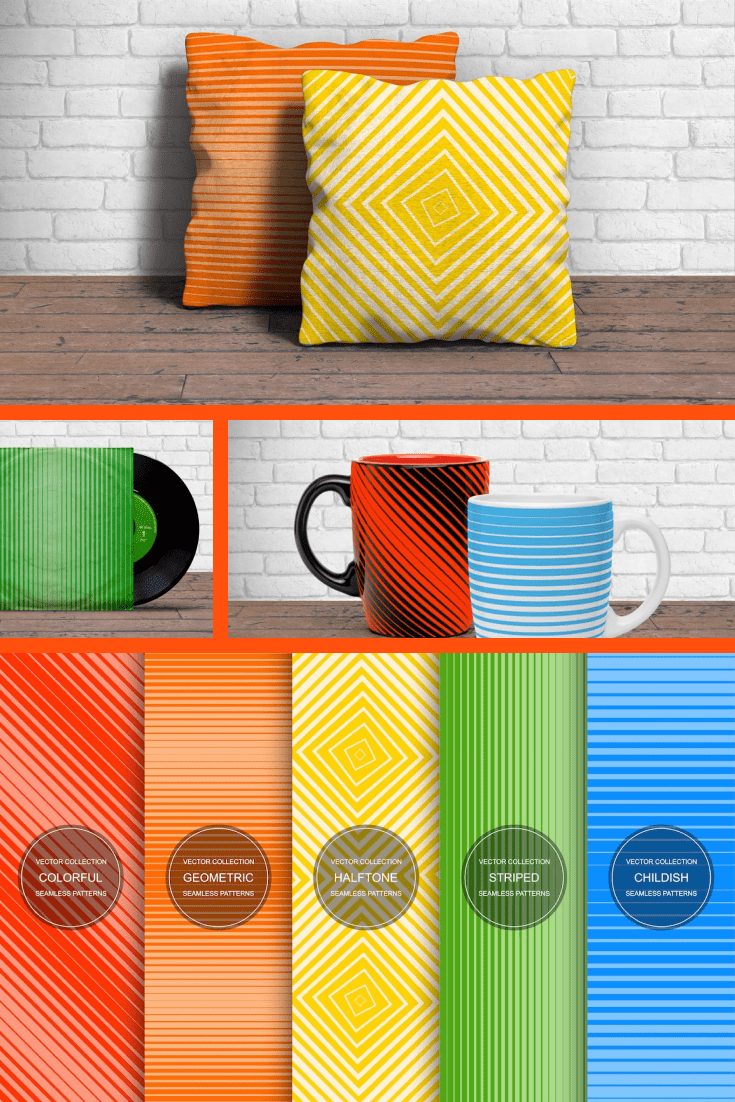 Stripes and geometric shapes in different colors.