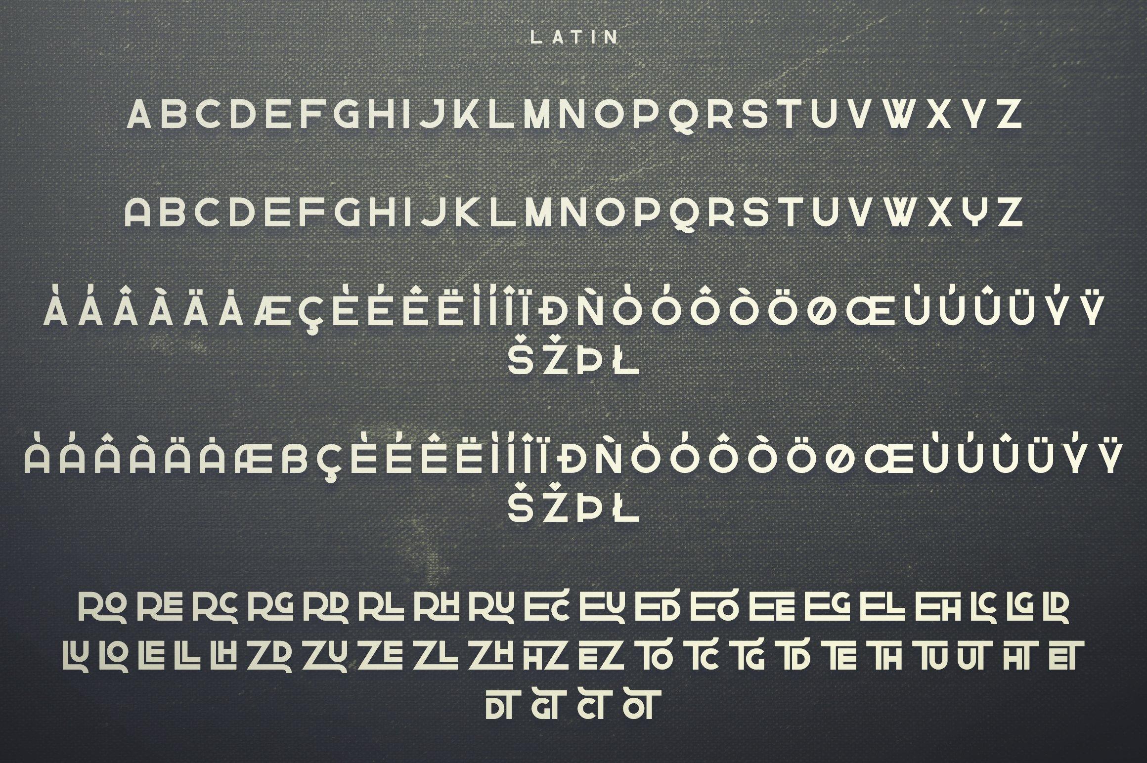 Latin variant of font. Greenth Display   Latin & Cyrillic Font.