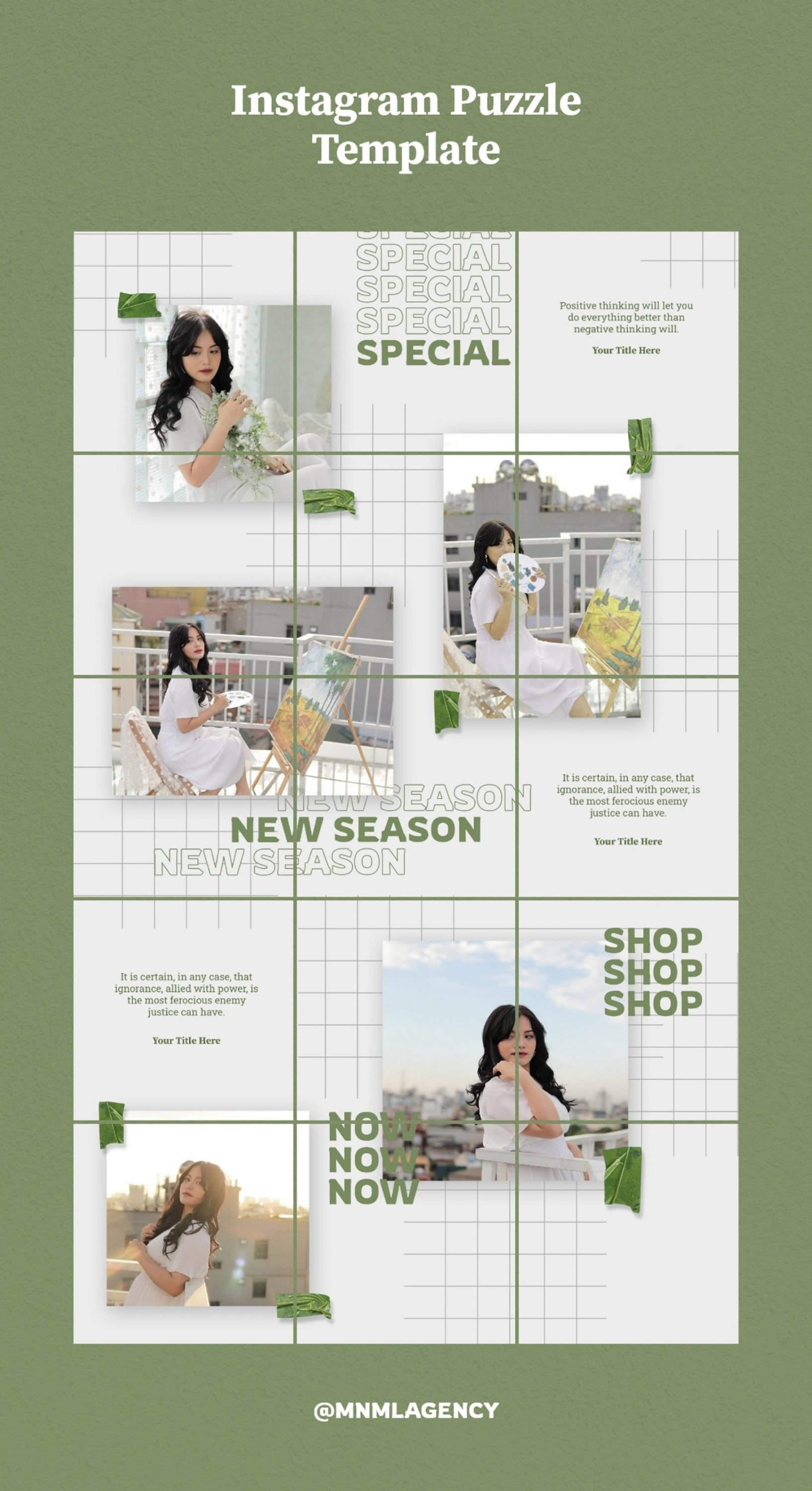 A green template with lovely elements and a simple design.